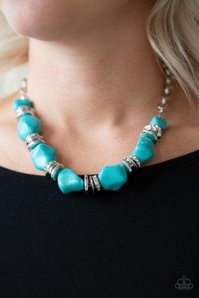 Paparazzi Necklace ~ Stunningly Stone Age - Blue