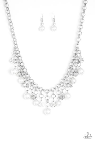 Paparazzi Necklace ~ HEIR-headed - White