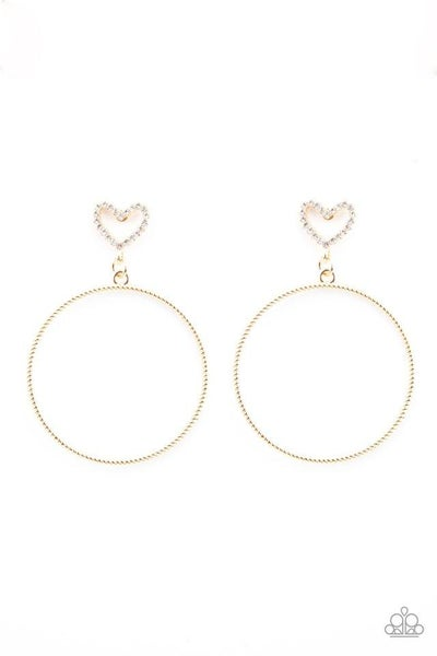 Paparazzi Earring ~ Love Your Curves - Gold