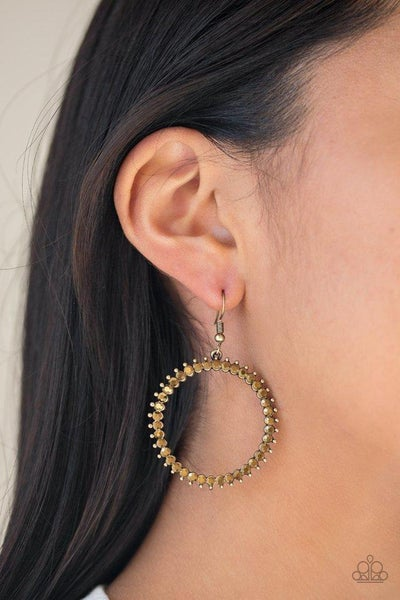 Paparazzi Earring ~ Spark Their Attention - Brass