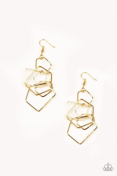 Paparazzi Earring ~ Five-Sided Fabulous - Gold