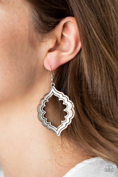 Paparazzi Earring ~ Taj Mahal Majesty - Silver