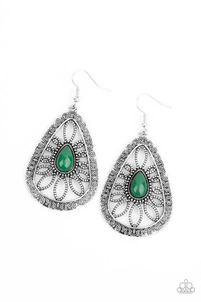 Paparazzi Earring ~ Floral Frill - Green