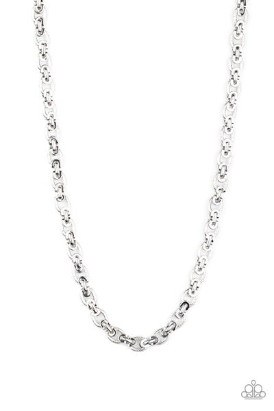 Paparazzi Necklace ~ Grit and Gridiron - Silver
