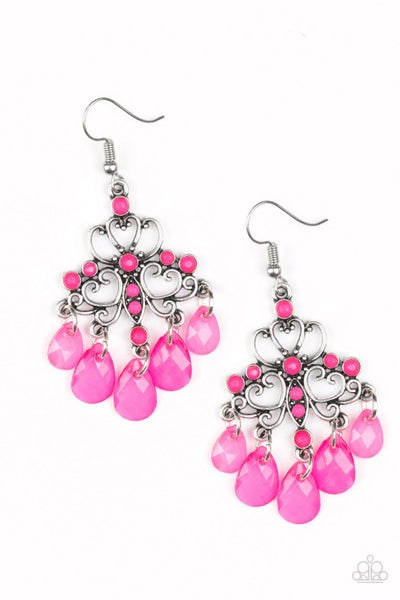 Paparazzi Earrings ~ Dip It GLOW - Pink