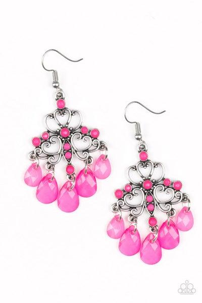Paparazzi Earrings ~ Dip It GLOW - Pink
