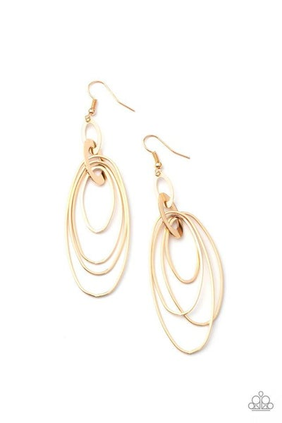 Paparazzi Earring PREORDER ~ OVAL The Moon - Gold
