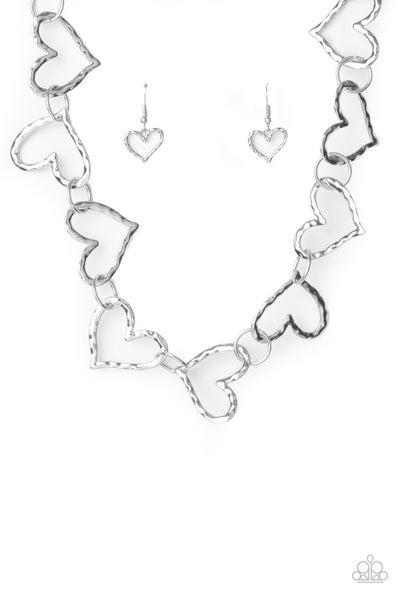 Paparazzi Necklace ~ Vintagely Valentine - Silver