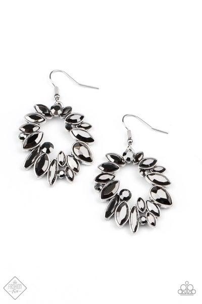 Paparazzi Earrings ~ Try as I DYNAMITE -Fashion Fix Oct2020 - Silver