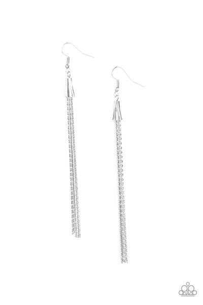 Paparazzi Earring ~ Shimmery Streamers - Silver