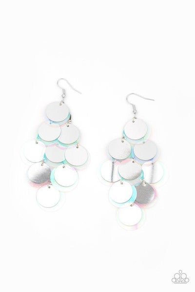Paparazzi Earring ~ Sequin Seeker - Silver