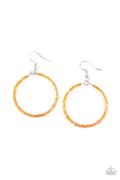 Paparazzi Earring ~ Colorfully Curvy - Orange