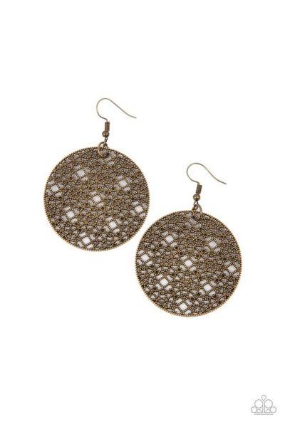 Paparazzi Earring PREORDER ~ Metallic Mosaic - Brass
