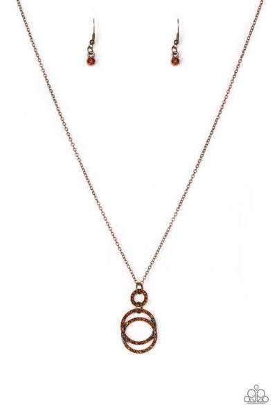 Paparazzi Necklace ~ Timeless Trio - Copper