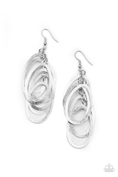 Paparazzi Earring PREORDER ~ Mind OVAL Matter - Silver