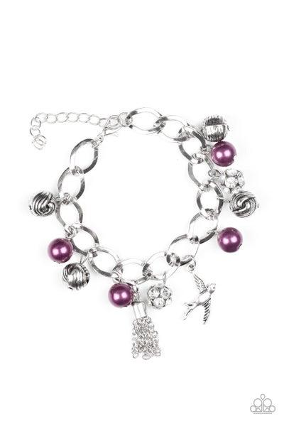 Paparazzi Bracelet ~ Lady Love Dove - Purple