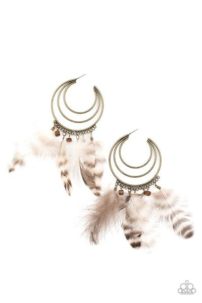 Paparazzi Earring PREORDER ~ Freely Free Bird - Brass