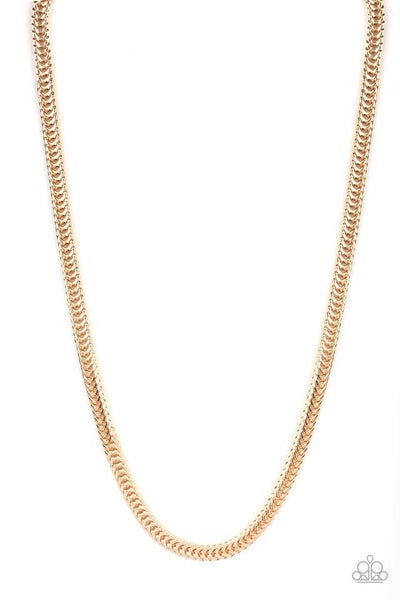 Paparazzi Necklace ~ Knockout King - Gold