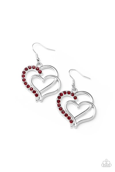 Paparazzi Earring ~ Double The Heartache - Red