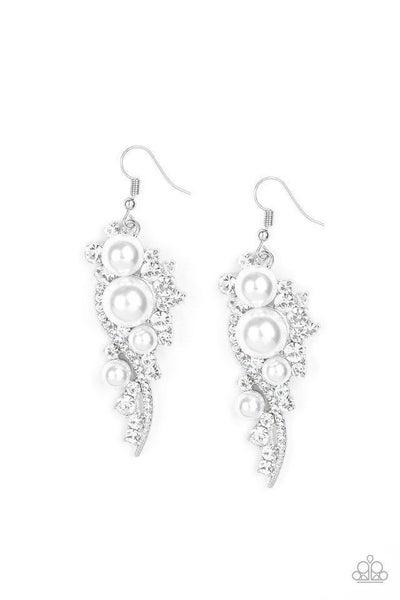Paparazzi Earring ~ High-End Elegance - White
