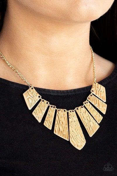 Paparazzi Necklace ~ Texture Tigress - Gold