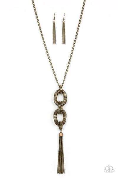 Paparazzi Necklace ~ Enmeshed in Mesh - Brass