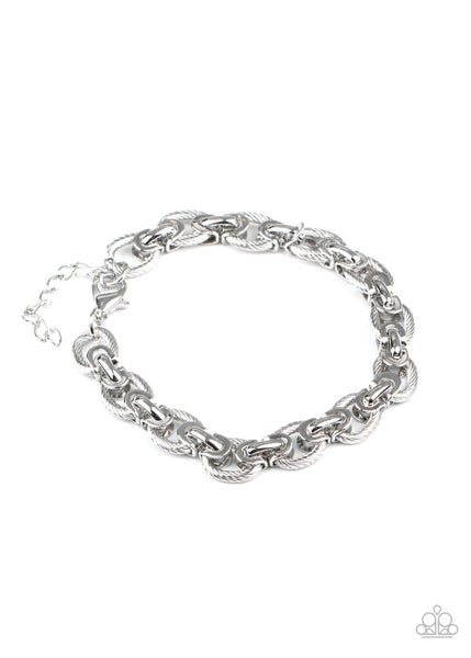 Paparazzi Bracelet ~ Gridiron Grunge - Silver