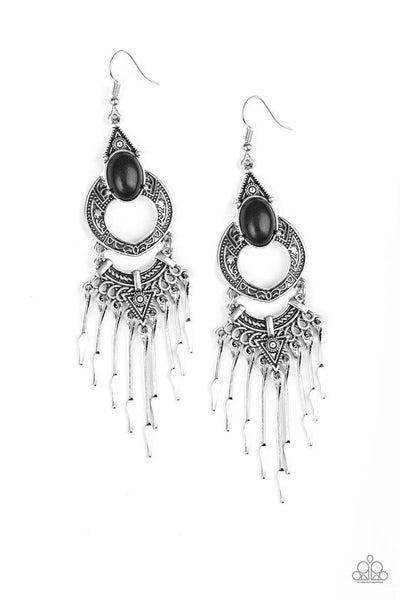Paparazzi Earring ~ Southern Spearhead - Black