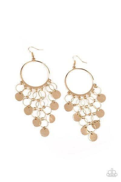 Paparazzi Earring ~ Take a CHIME Out - Gold