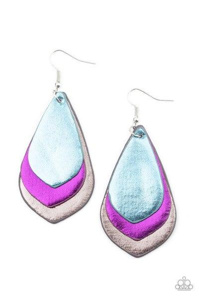 Paparazzi Earring ~ GLISTEN Up! - Purple Multi