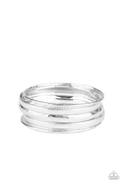 Paparazzi Bracelet ~ Basic Bauble - Silver