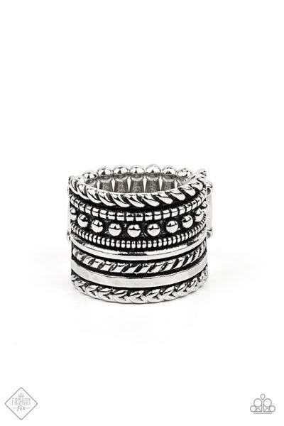 Paparazzi Ring Fashion Fix April 2021 ~ Stacked Odds - Silver