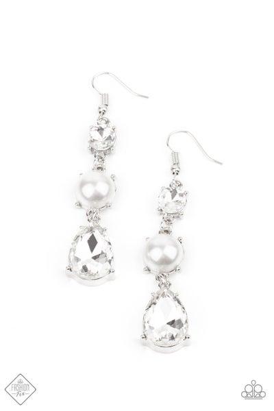 Paparazzi Earrings Fashion Fix Jan 2021 ~ Unpredictable Shimmer - White