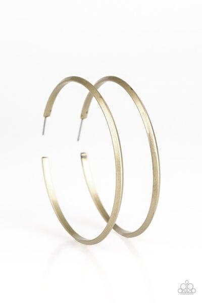 Paparazzi Earring ~ 5th Avenue Attitude - Brass