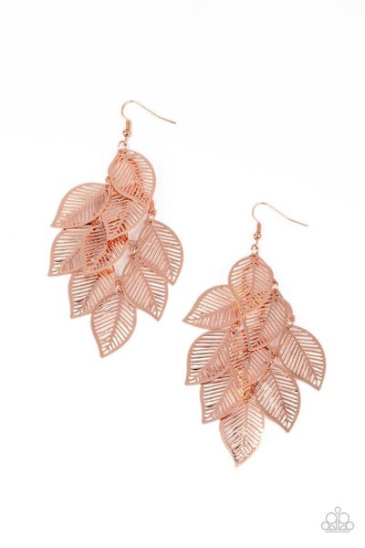 Paparazzi Earring ~ Limitlessly Leafy - Copper