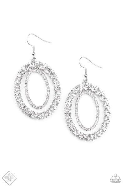 Paparazzi Earrings ~ Deluxe Luxury - Fashion Fix Nov 2020 - White