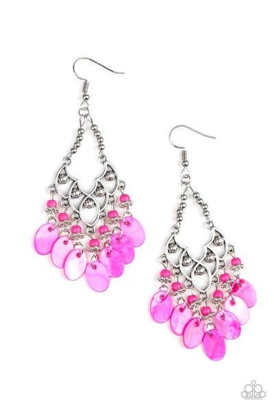 Paparazzi Earring ~ Shore Bait - Pink