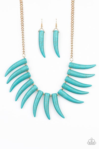 Paparazzi Necklace LOP August ~ Tusk Tundra - Blue