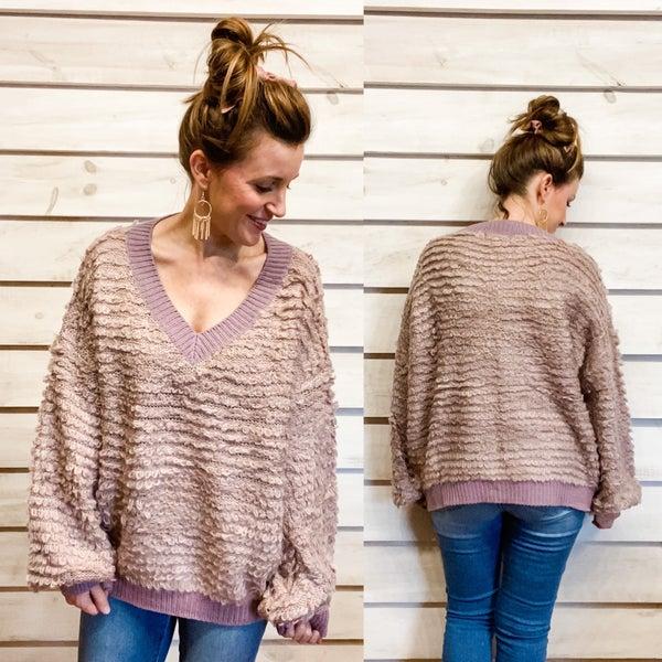 Cozy Purple Textured Sweater