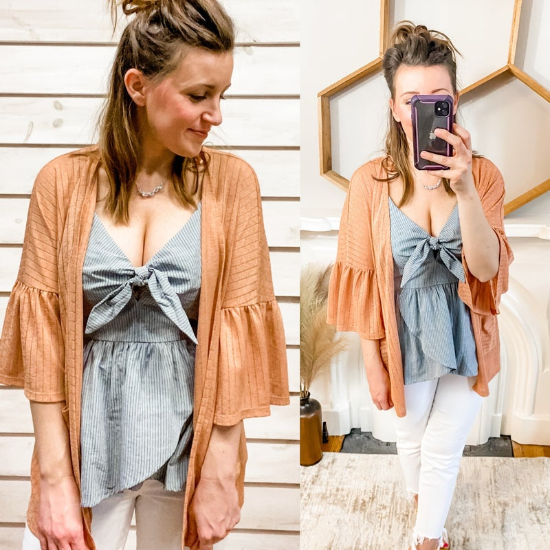 Ginger Striped Kimono with Back Cutout