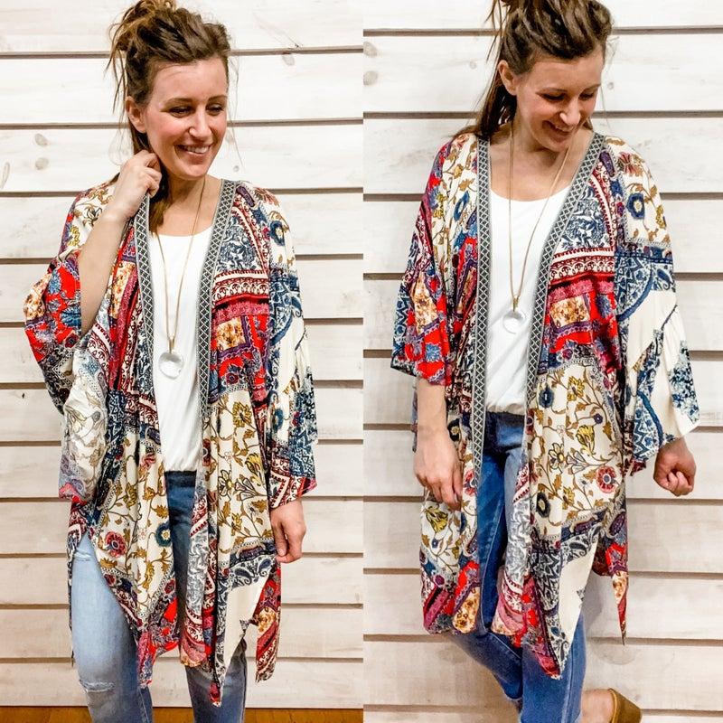 Boho Printed Ruffle Sleeve Kimono