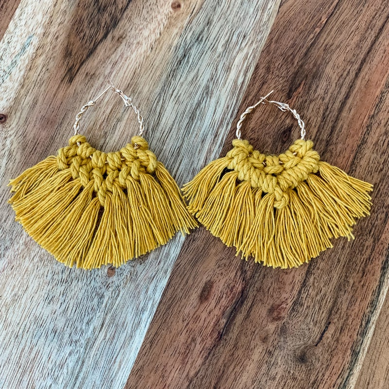 Mustard Boho Macrame Earrings