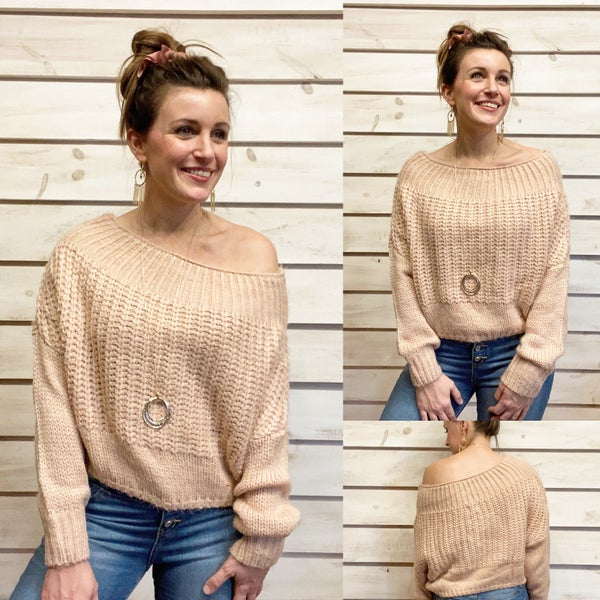 Blush Boat Neck Cropped Sweater