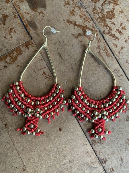 Red and Gold Beaded Hoop Earring