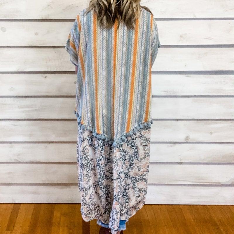 Blue Contrasting Print Tassel Kimono