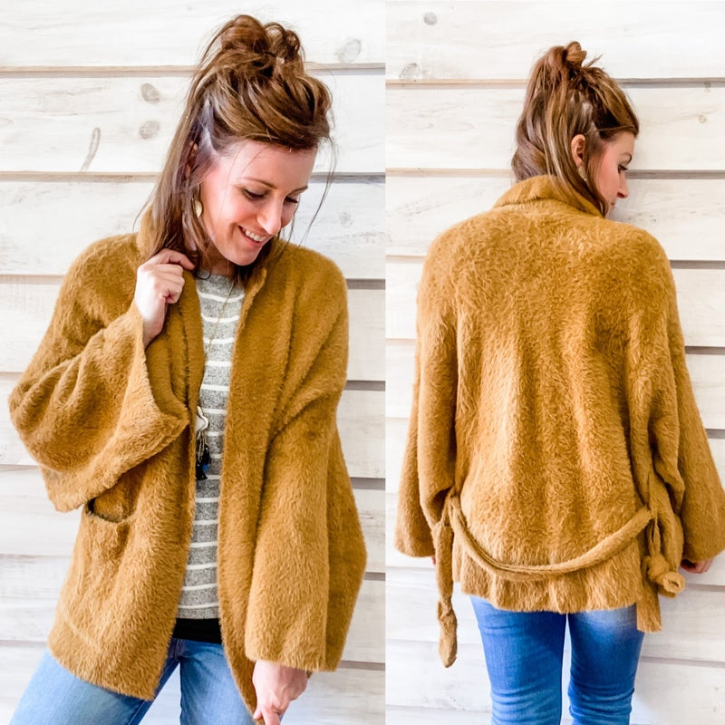 Soft and Fuzzy Bell Sleeve Cardigan with Tie