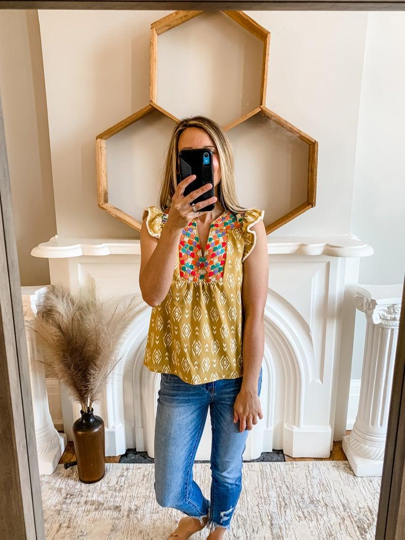 Mustard Embroidered Flutter Sleeve Top