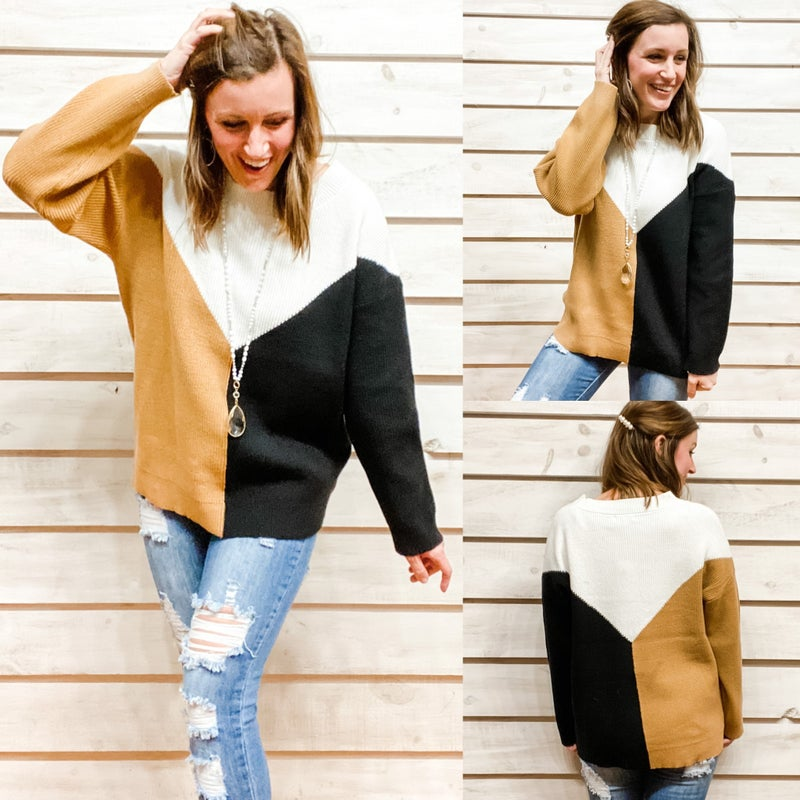 Gold Color Block Sweater