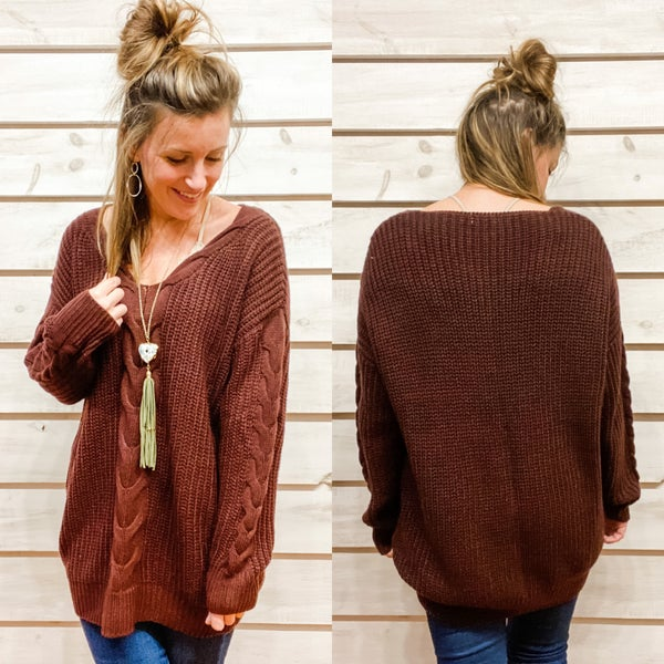 Deep Burgundy Oversized Knit Sweater