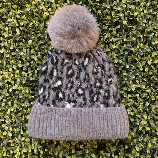 Cozy Lined Charcoal Animal Print Pom Beanie